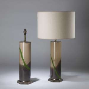 Pair of large cream brown glass lamps with green trail on hexagonal brass bases (T4331)