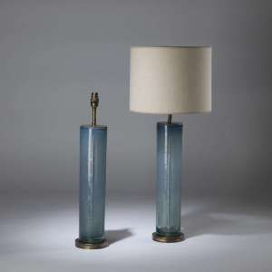 Pair of medium blue bubble glass cylinder lamps on round brass bases (T4345)