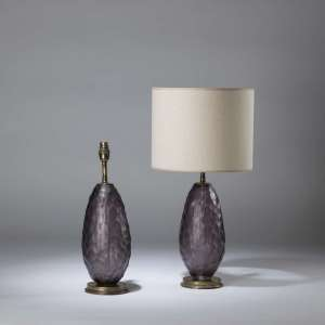 Pair of small purple cut glass 'jorden' lamps on round brass bases (T4348)