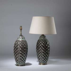 Pair of medium brown turquoise fish scale lamps on round brass bases (T4350)