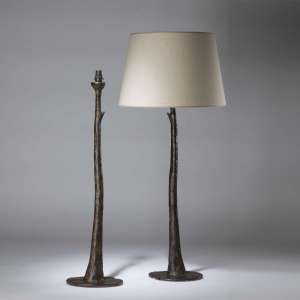 Pair of very tall brown bronze stem and thorn metal lamps (T4358)