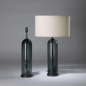 Pair of blue green 'dome' lamps on round brass bases (T4364)