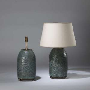 Pair of small blue grey 'lava' textured lamps on brass ball feet (T4365)