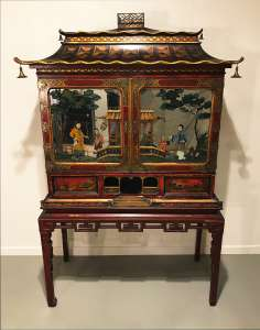 English chinoiserie museum quality cabinet on stand with reverse painted mirror panels circa 1840 (T4498)
