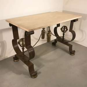 Modern wrought iron centre table with French 1940's design (T4536)