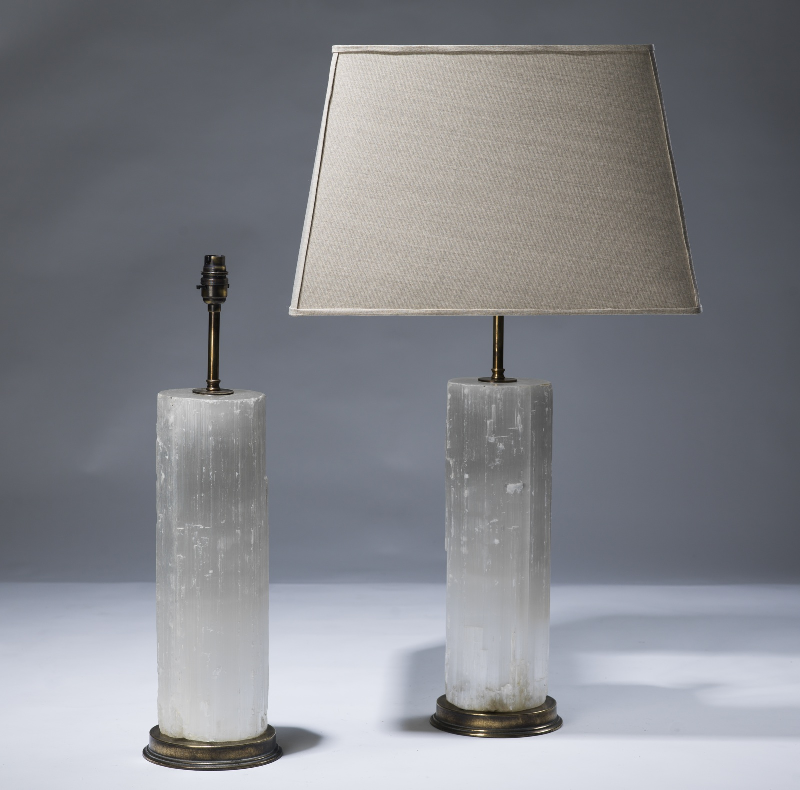Marvelous Pair Of Large Clear Selenite Lamps On Distressed Brass Bases