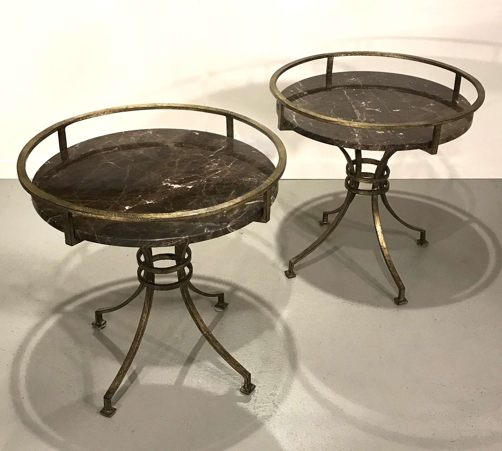 Completely new Pair of wrought iron tray side tables in distressed gilt finish  EO22