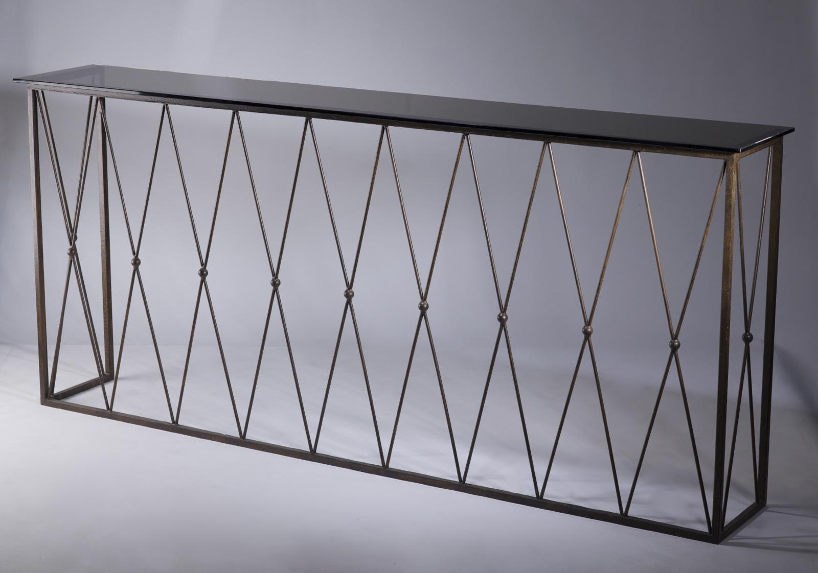 Wrought Iron U0027diamondu0027 Console Table In Brown Bronze Finish With Bronze  Glass Top