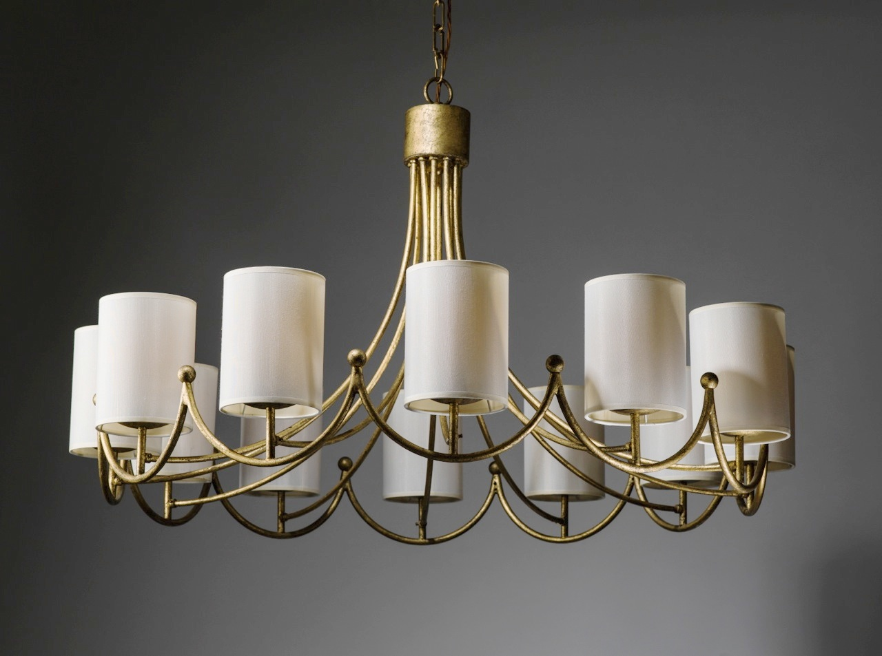 Royere inspired wrought iron 12 light chandelier in distressed gold royere inspired wrought iron 12 light chandelier in distressed gold leaf finish with cream silk shades mozeypictures Image collections