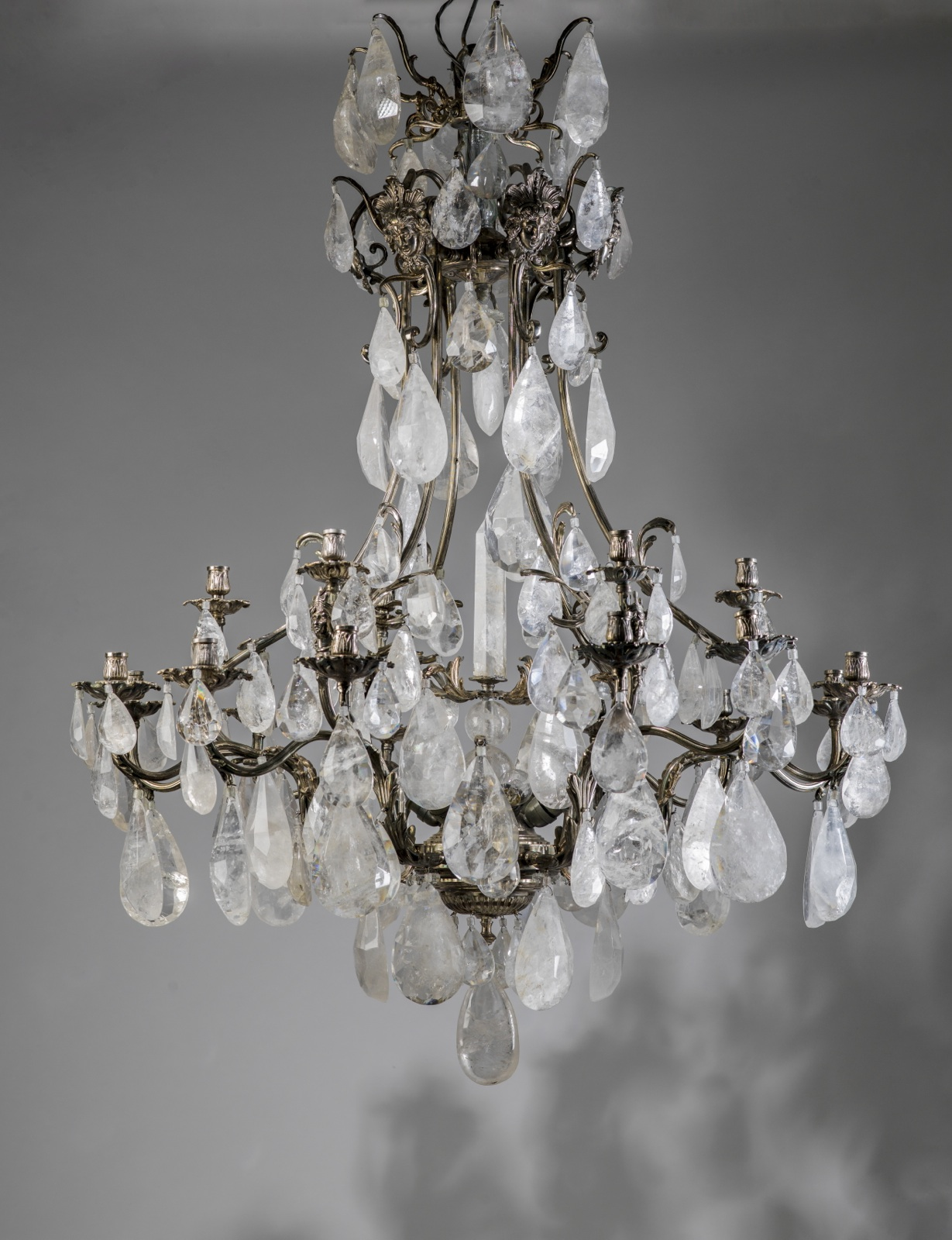 massive silvered bronze and rock crystal chandelier - Massive Silvered Bronze And Rock Crystal Chandelier (T3459) - TYSON