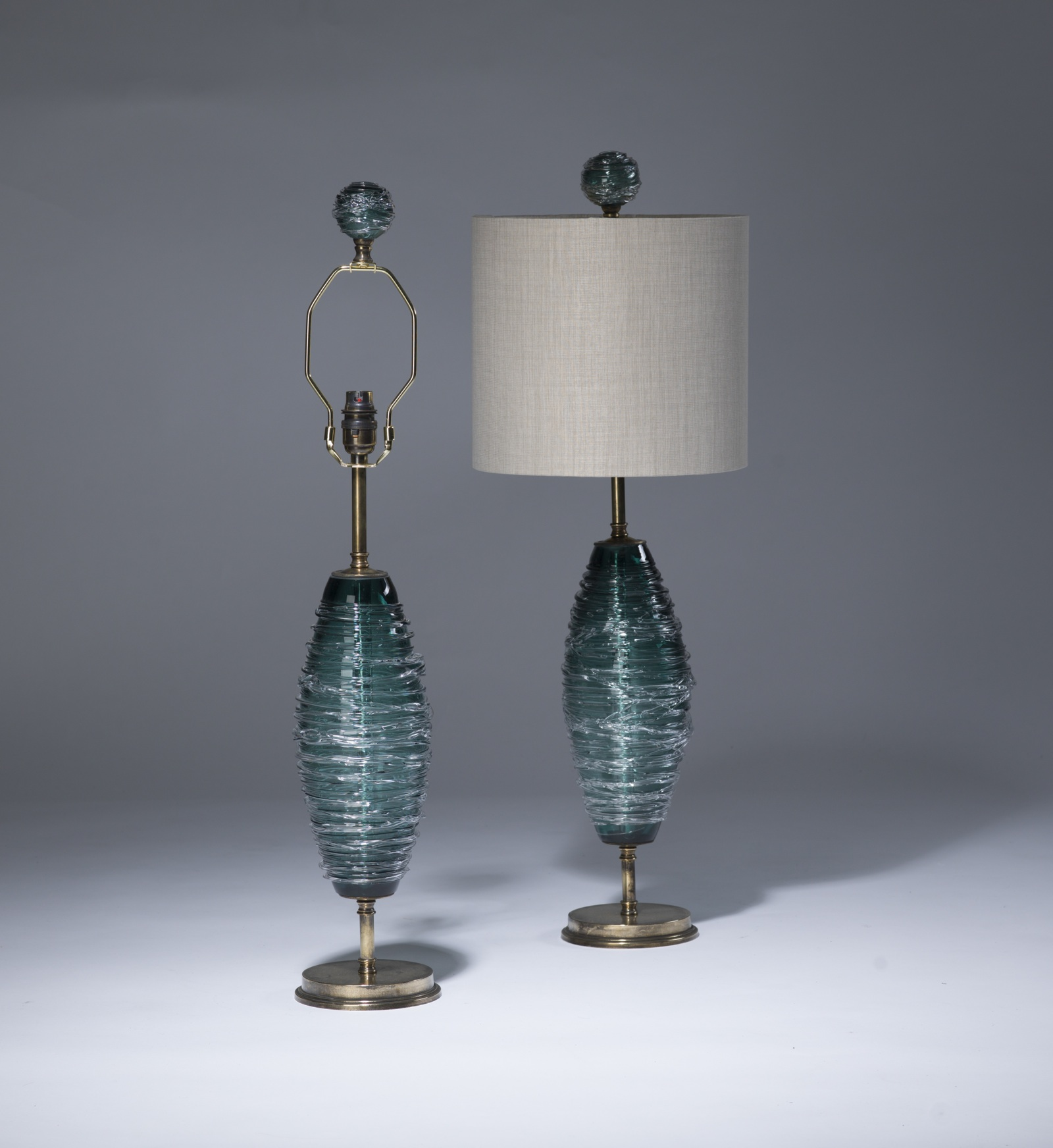 Pair Of Small Green Teal Swirl Glass Lamps On Distressed Brass Bases With  Matching Finials