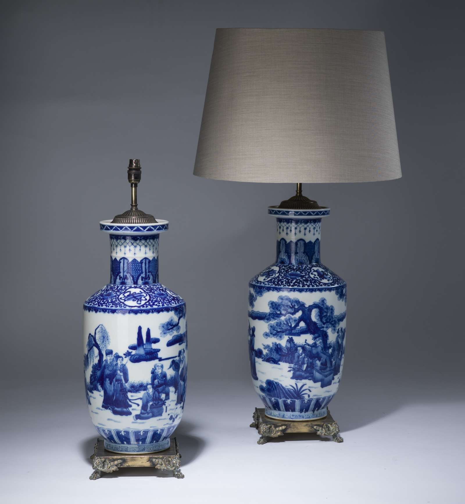 Pair Of Large Antique Blue White Ceramic Lamps On Distressed