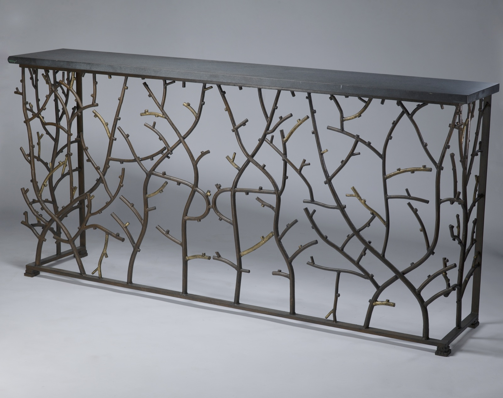 Wrought iron \'coral\' console in brown bronze, distressed gold leaf ...