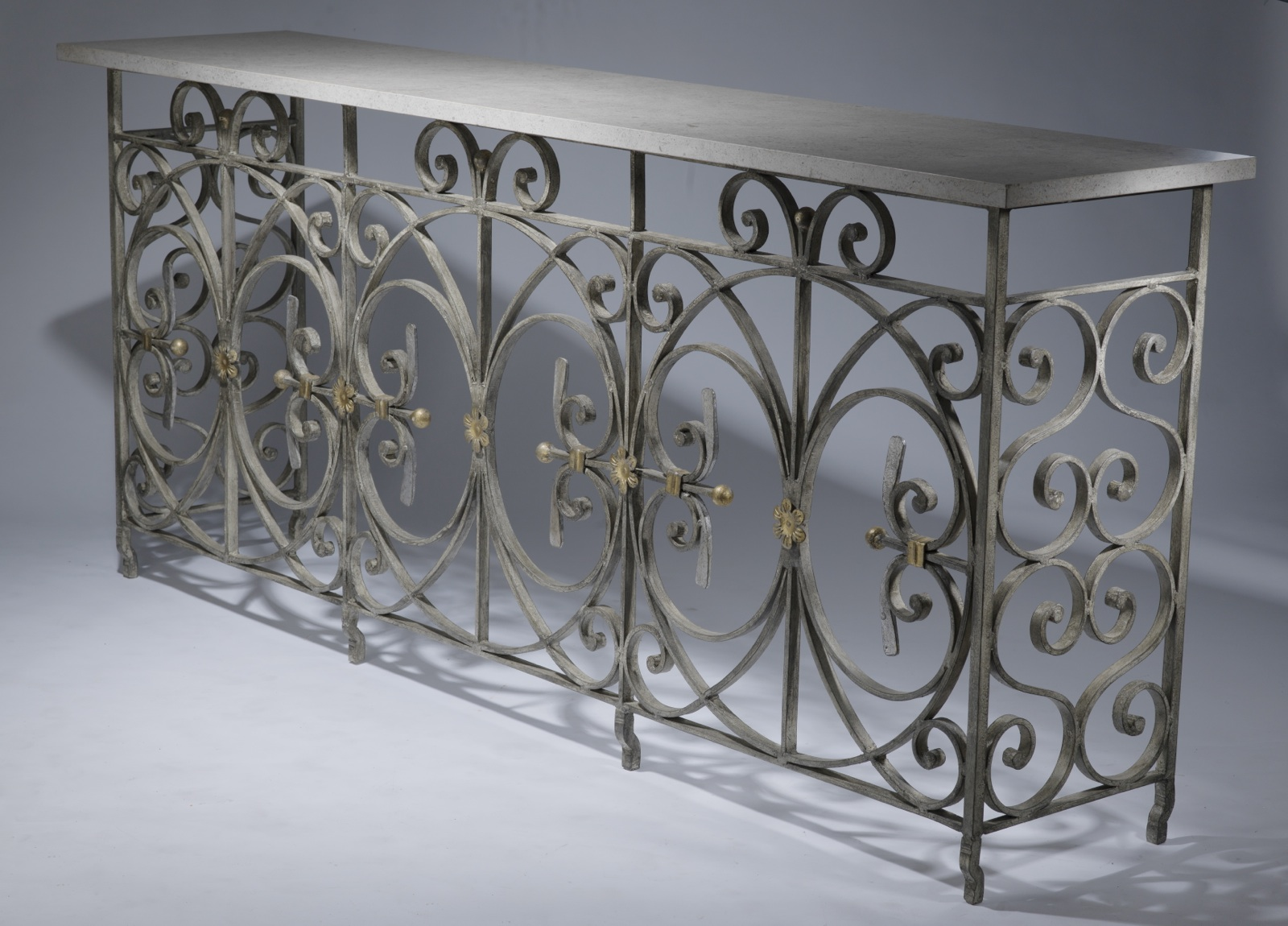 Wrought Iron Circle Console Table Available In Brown Bronze Finish With Marble Top on Antique Tables
