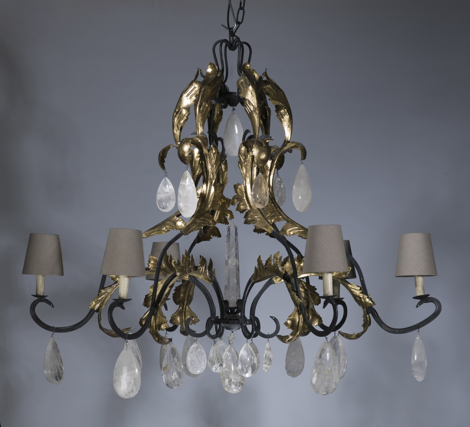 Large 6 arm wrought iron \'leaf\' chandelier in grey, distressed gold ...