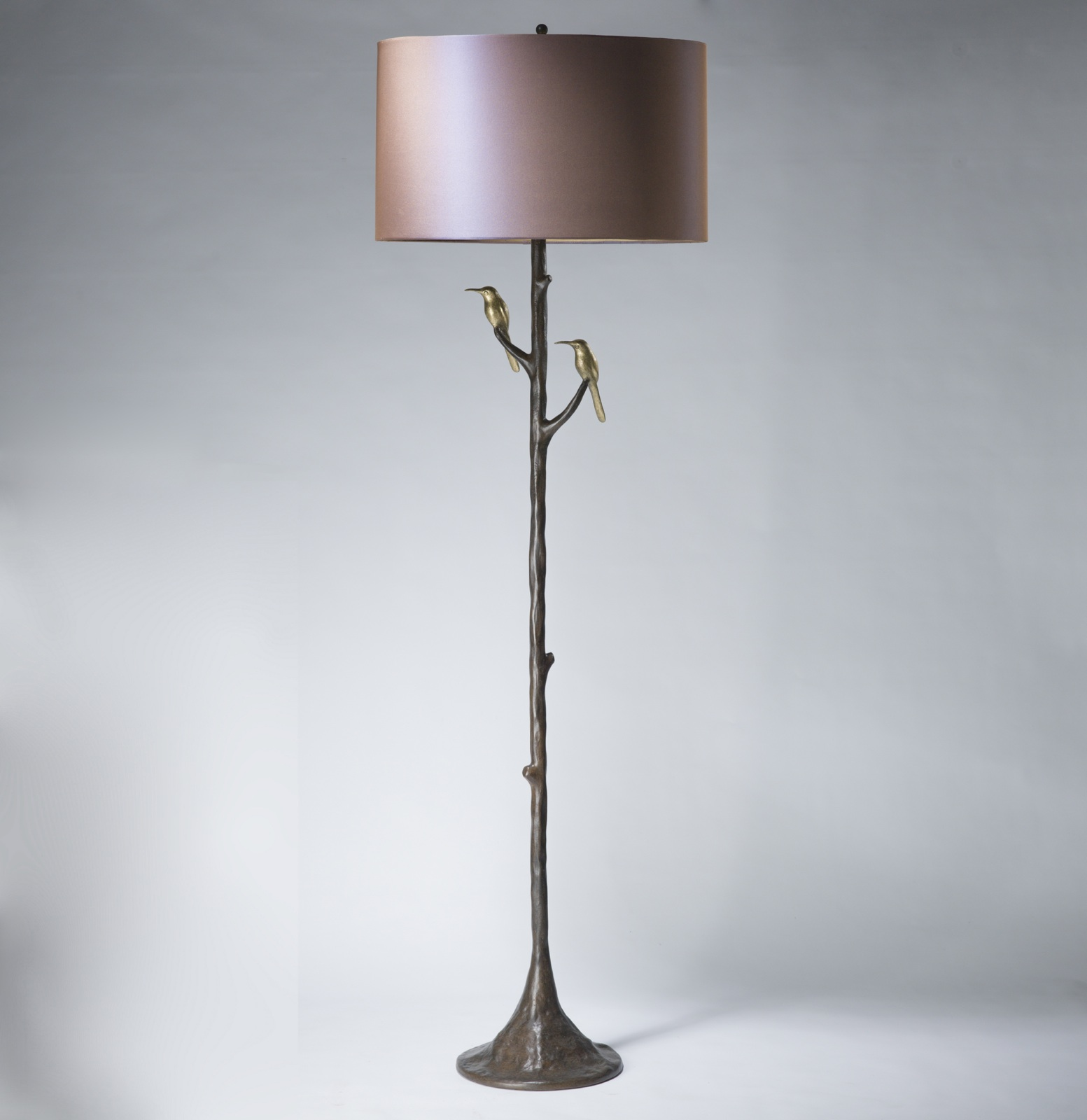 Tall Hummingbird Floor Lamp In Brown Bronze Distressed Gold Leaf Finish T3587 Tyson London Decorative Lighting And Furniture