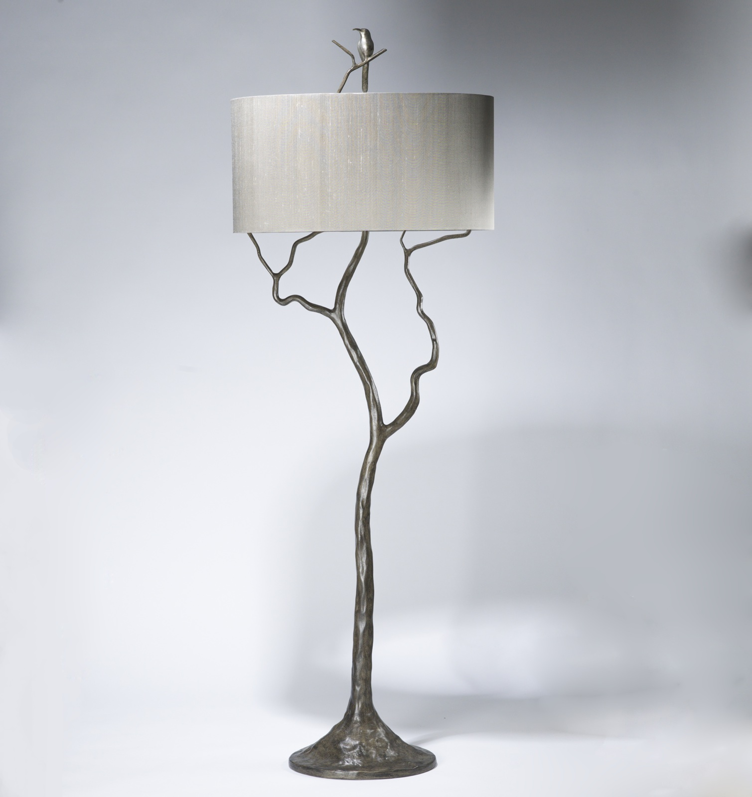 Tall Tree Humming Bird Floor Lamp In Grey Painted Pewter