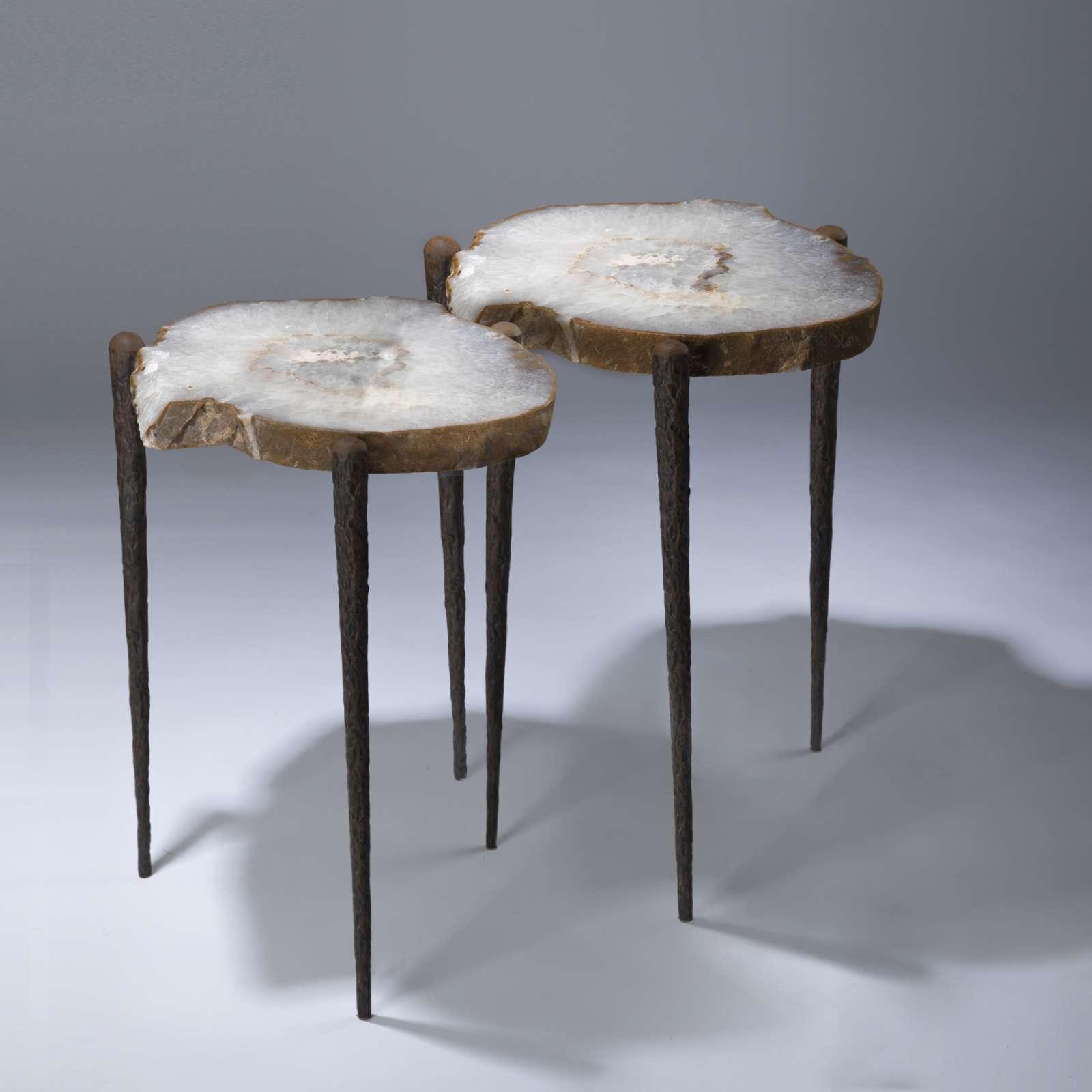 Bon Pair Of Agate Slices On Tapered Three Leg Table