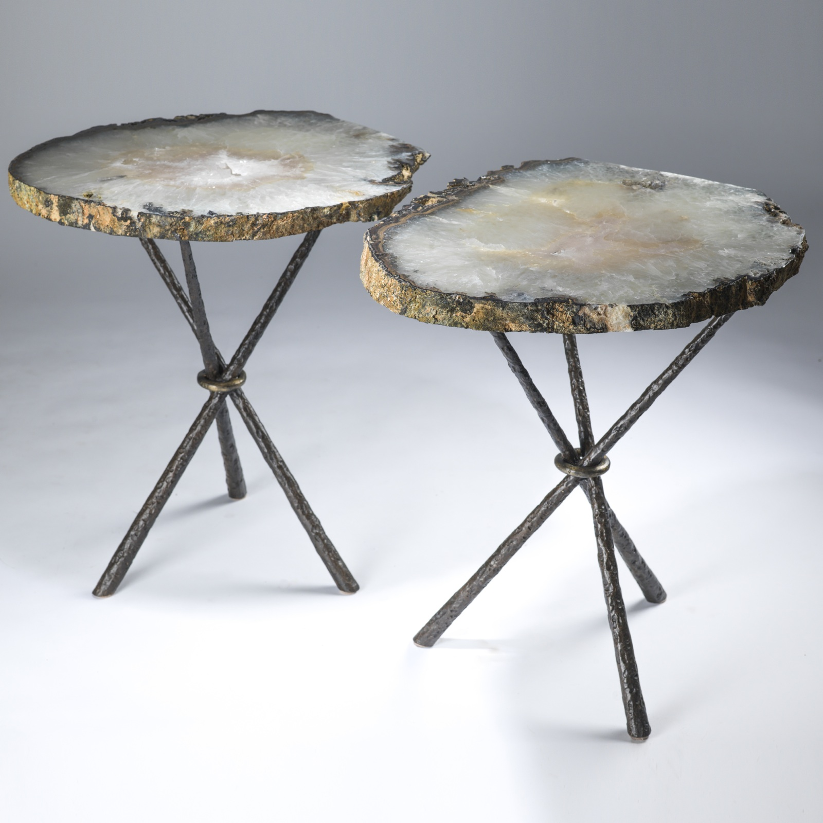 Pair Of Large Celadon Green Agate Slices On Tripod Tables