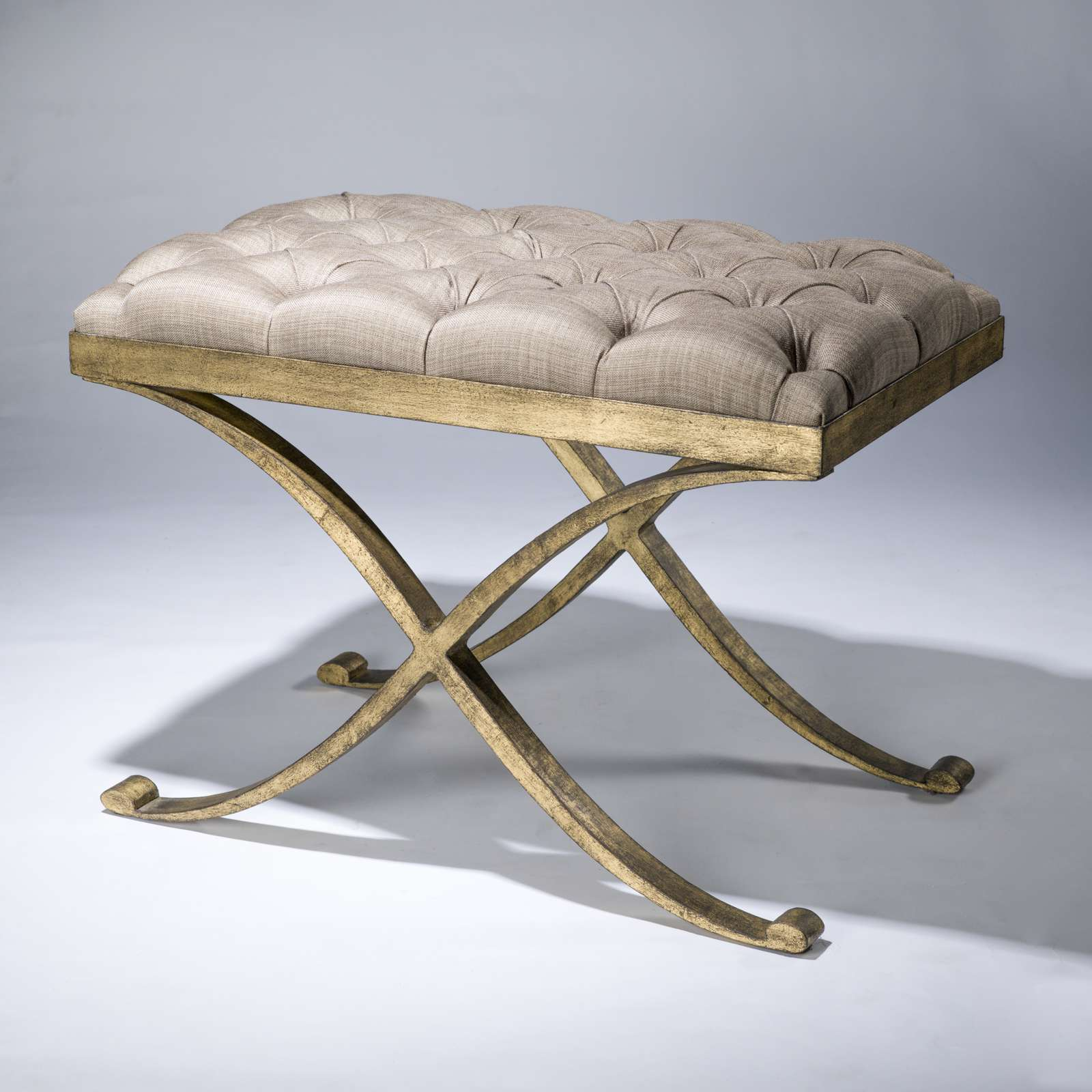 Wrought iron criss cross stool in distressed gold leaf finish (T3671 ...