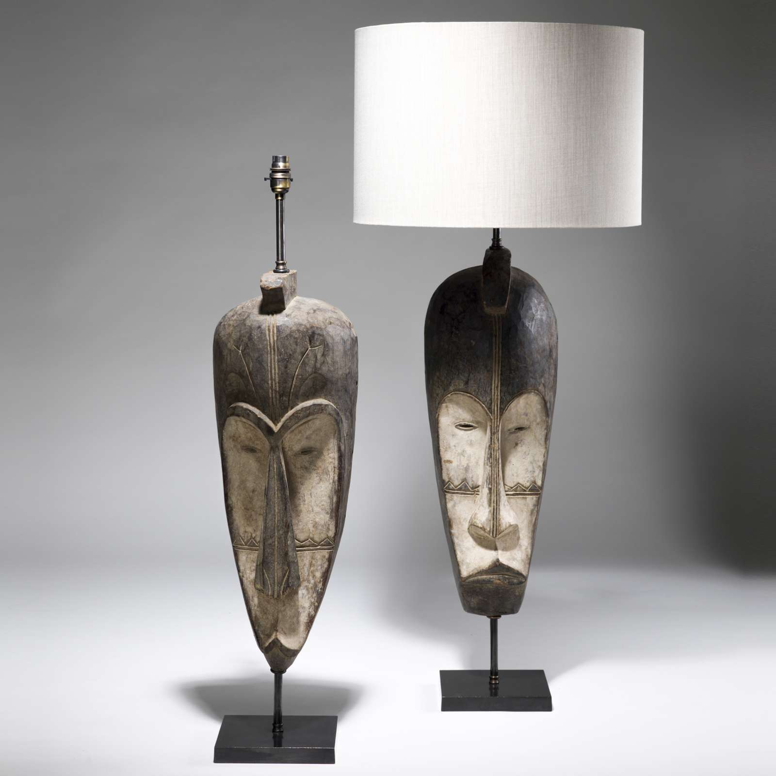 Pair of large brown african tribal mask lamps on bronze bases t3769 pair of large brown african tribal mask lamps on bronze bases mozeypictures Gallery