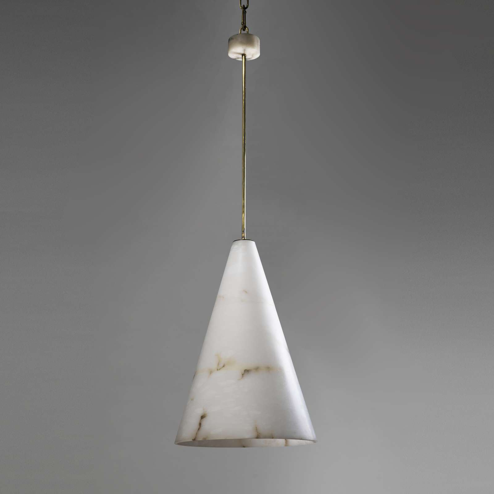 Massive Alabaster Cone Light With Ceiling Rose And Antique Brass Ings