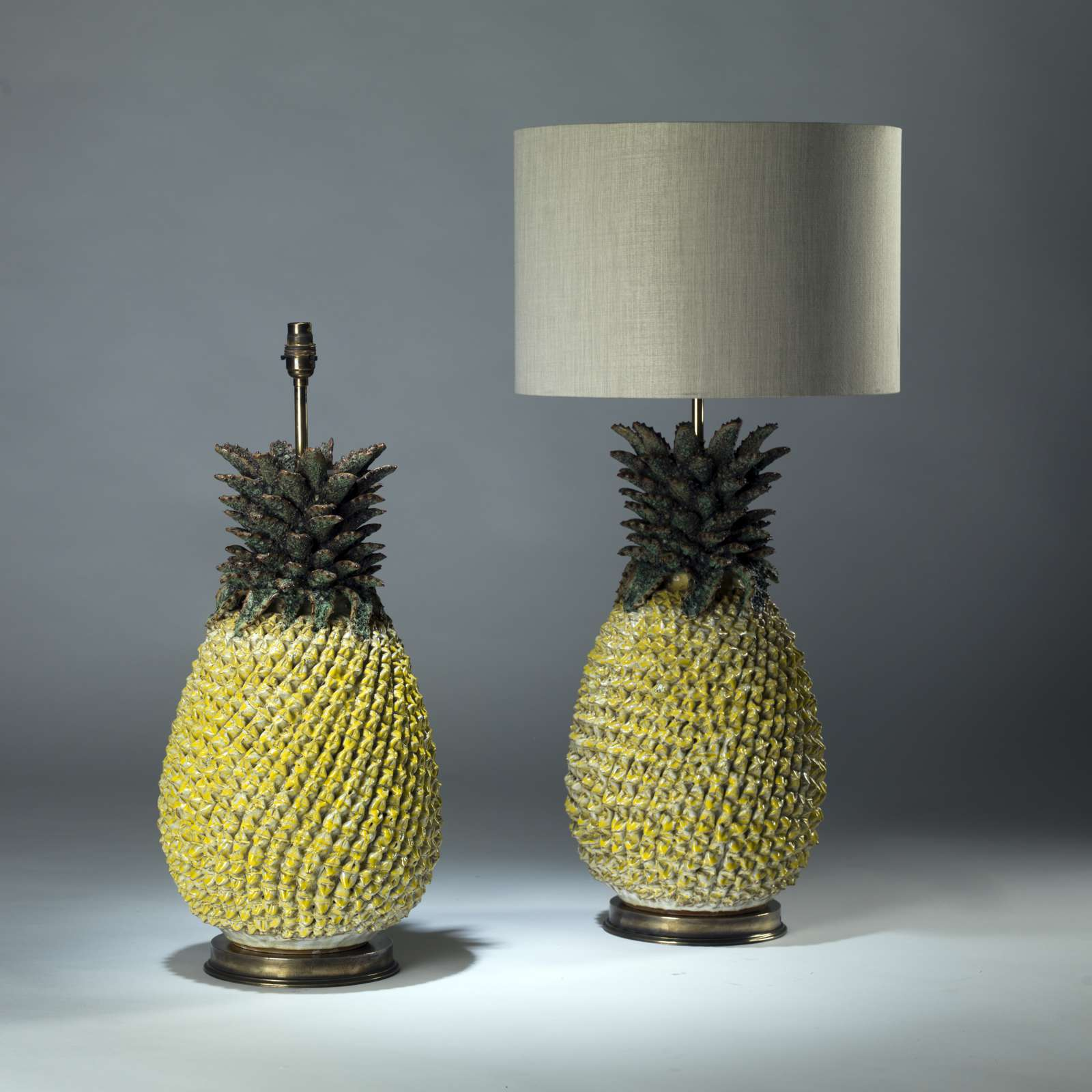 Fresh Pair of large yellow green ceramic pineapple lamps on round brass  LS89