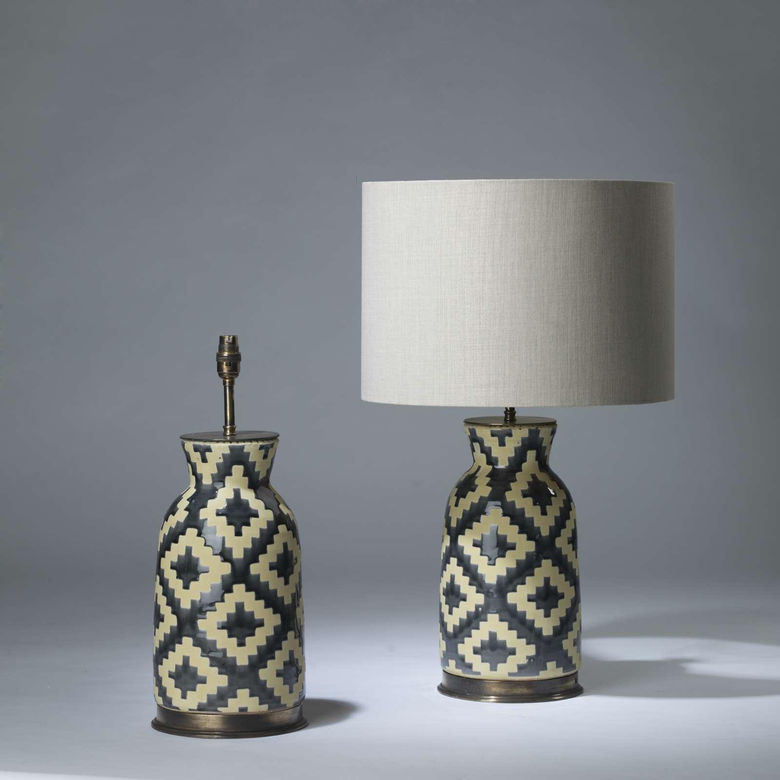 Pair Of Medium Dark Grey And Beige Ceramic Aztec Lamps On