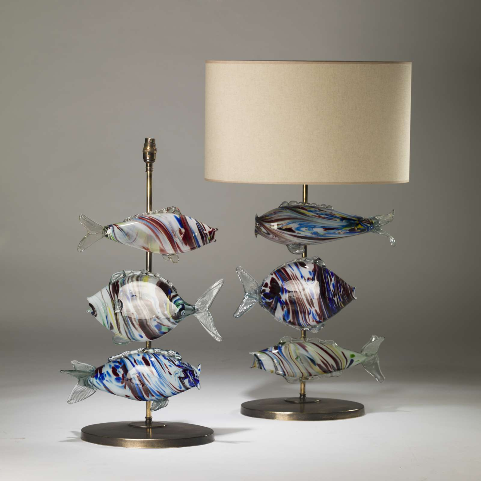 Pair Of Large Murano Glass Blue And Red Fish Lamps On Oval Brass Bases