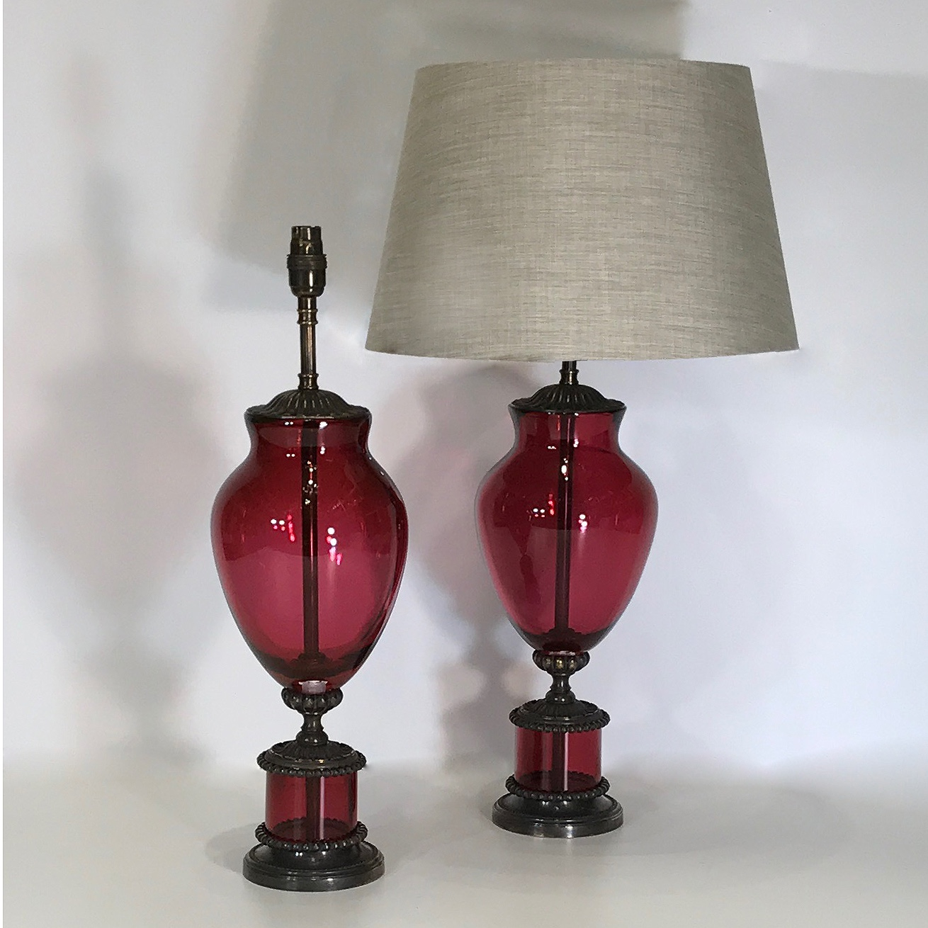 Pair Of Medium Pink Red Cranberry Gl Lucy Lamps On Brown Bronze Bases