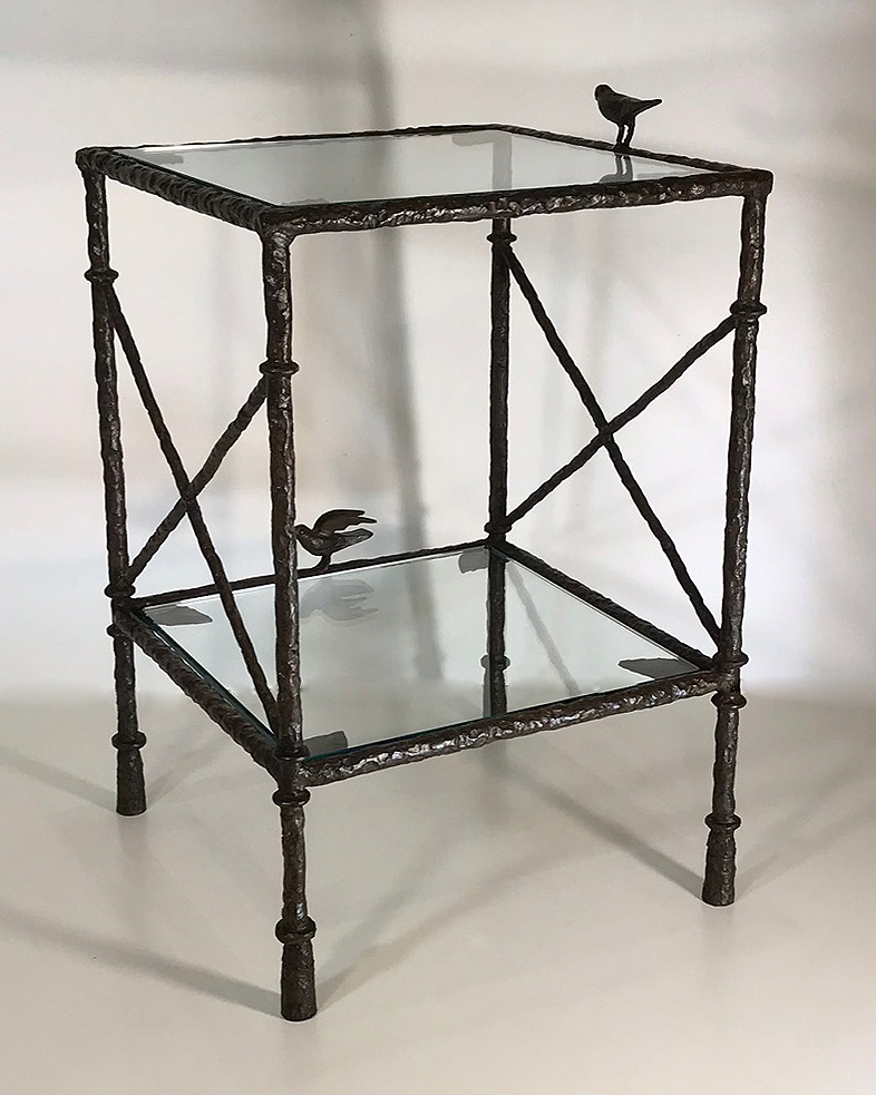 Textured Small Wrought Iron Tana Side Table With Glass Top In Brown Bronze Finish T4746 Tyson Decorative Lighting And Bespoke Furniture