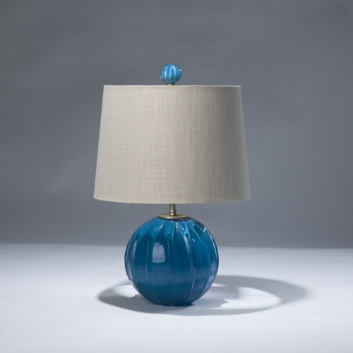 "single small blue glass ball ""pumpkin""  lamp with matching finial"