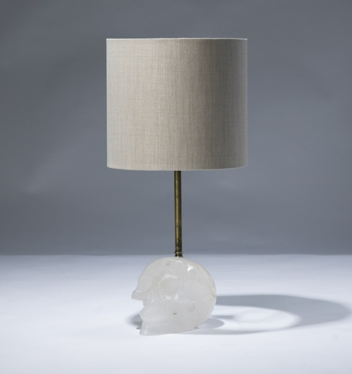 single small clear crystal 'skull' lamp