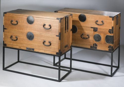 pair of antique korean wooden chests of drawers on modern iron stands