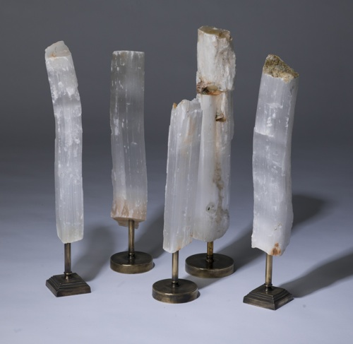 selenite chunks on distressed brass stands