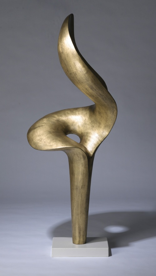 massive gilt wrought iron 'lily' sculpture on marble stand