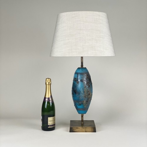 Single Medium Blue Glass 'elliot' Lamp On Distressed Brass Base
