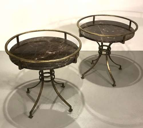 Pair of wrought iron tray side tables in distressed gilt finish with dark Emperador marble top