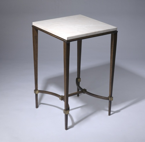 wrought iron 'tapered leg' side table with marble top in brown bronze, gold leaf highlight finish