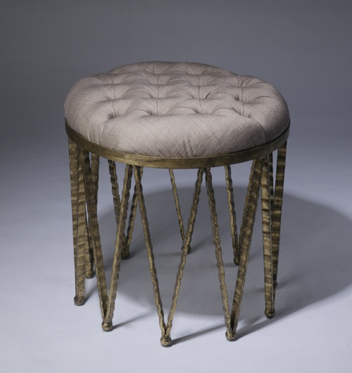 medium round wrought iron 'crown' stool in distressed gold leaf finish with natural linen upholstery