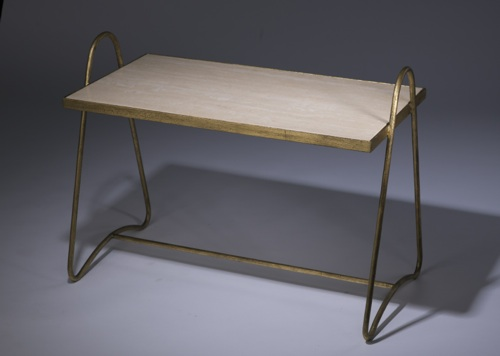 wrought iron 'tray' side table in distressed gold leaf finish with marble top