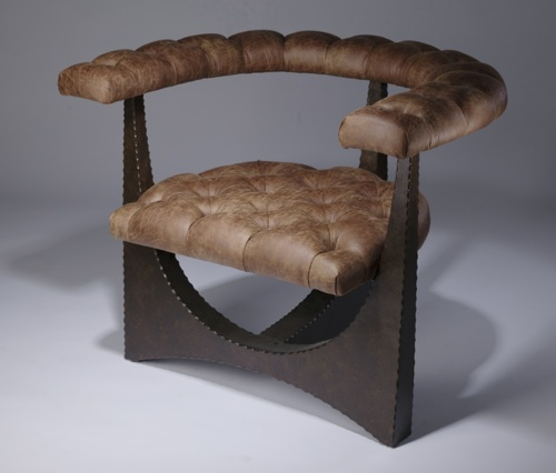 large wrought iron 'paul' lounge chair in dark bronze finish with brown fake leather upholstery