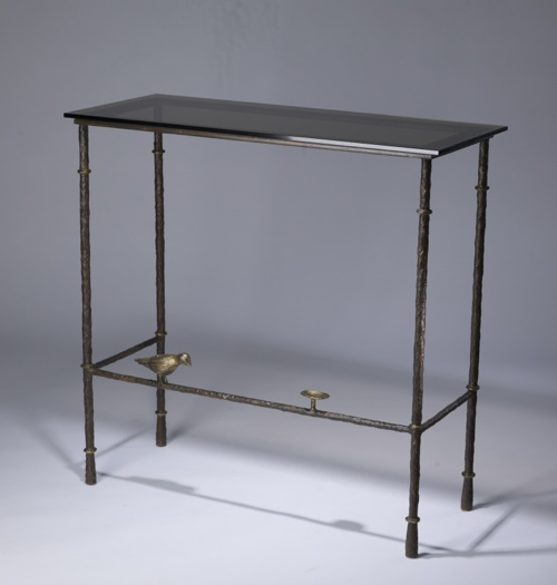 Wrought iron 'bird & bowl' console table in brown bronze, gold leaf highlight finish with bronze glass top