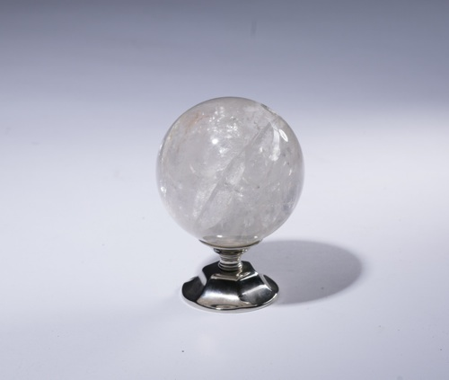rock crystal staircase finial on nickel stand