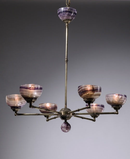 6 arm bronze chandelier with blue john Shades