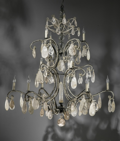 massive wrought iron rock crystal chandelier with 12 lights