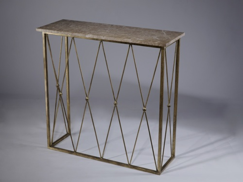 Wrought Iron 'diamond' console with 20mm stone/marble top
