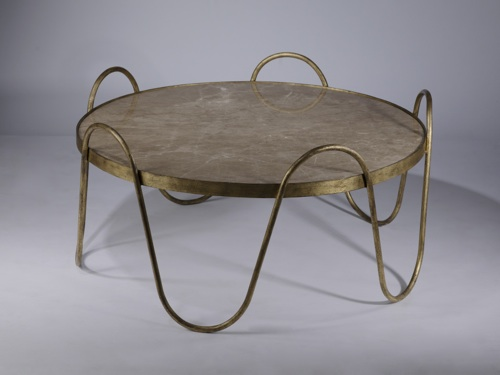 wrought iron 'drum' coffee table in distressed gold leaf finish with marble top