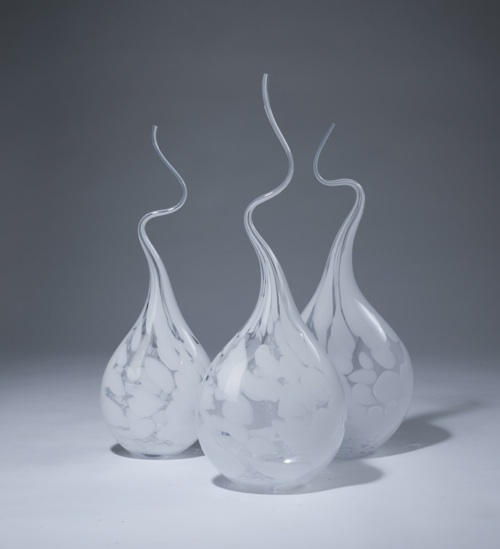 white marbled 'squiggle vases'