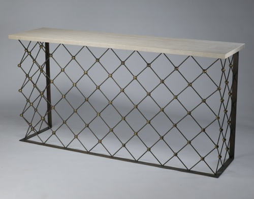 Wrought iron 'net' console table